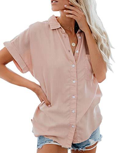 Lantch Damen Bluse Shirt Sommer Hemdbluse Kurzarm Hemd Tops Frauen Oberteile T-Shirt (pk,l)