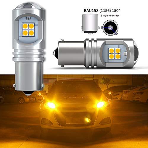 BAU15S PY21W 7507 Bombilla LED Ámbar Amarillo Superbrillante 12SMD 3030 Chips Canbus Sin errores 1156 1156PY Luz LED de Señal de Giro Luz de Respaldo Lámpara Trasera DC 10-30V (2 piezas)