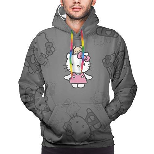 Hello Kitty Hoodie Sweatshirts für Herren Druck Casual Kapuzenpullover Sweashirt Pullover mit Taschen Gr. Large, Schwarz