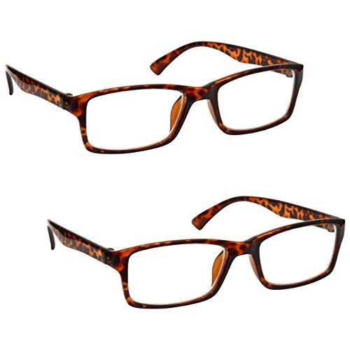 The Reading Glasses Company Die Lesebrille Unternehmen Braune Schildpatt Leser Wert 2er-Pack Designer Stil Herren Frauen RR92-2 +1,00