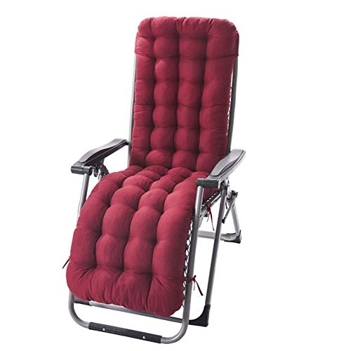 DLILI Asiento de Silla Relajante reclinable, cojín de Asiento de sofá de jardín Grueso, cojín de Silla de Patio Plegable Grueso de algodón Perlado para jardín Interior al Aire Libre (Rojo Vino, 12