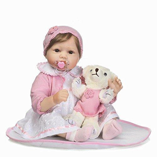 Nicery Reborn Baby Doll Réincarné bébé Poupée Doux Simulation Silicone Vinyle 22 Pouces 55cm Bouche Vif Réaliste Qui Semble Vivant Garçon Fille Jouet Vif réaliste Âge 3+ RD45C064UF