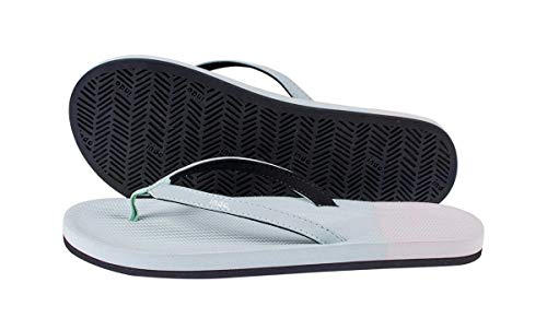 Indosole Women's ESSNTLS Vegan Flip Flops [Reused Tire Sole, Natural Rubber Arch Support, ENVRO Strap, Waterproof], [Sport, Yoga, Skate, Surf], Size 4-5, Light Leaf/Sea Salt (Green/White)