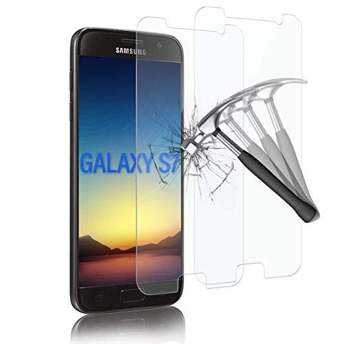 Shalwinn Panzerglas Schutzfolie kompatibel mit Samsung Galaxy S7, 2.5D abgerundete Kanten, 9H Härte, HD Anti-Öl, Anti-Kratzen, Anti-Bläschen Panzerglasfolie Displayschutzfolie (2 Stück)