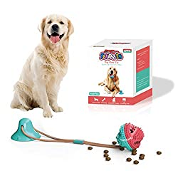 CPFK Dog Chew Suction Cup Tug of War Toy Multifunction Interactive Pet Aggressive Chewers Rope Puzzle Toothbrush Molar Bite Squeaky Toys Ball with Teeth Cleaning and Food Dispensing Feature