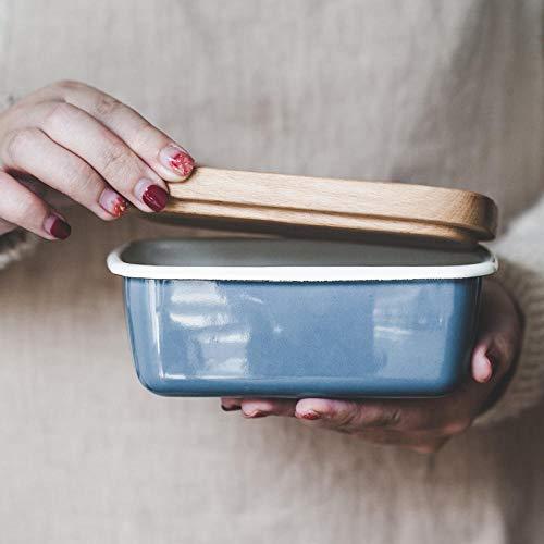 Botervloot boter Dish Japanse emaille houten deksel botervloot koelkast vershouddoos ijsvorm kleine bakplaat blauw [massief houten deksel]