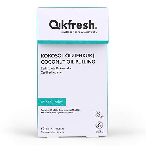 Qikfresh - Kokosöl Ölziehkur, 140ml (14 Sachets x 10 ml) | Mundziehöl mit Bio-Kokosöl und natürlichen ätherischen Ölen | Kokos-Minze | Zahnöl, Ölziehen | Zertifizierte Biokosmetik & Vegan