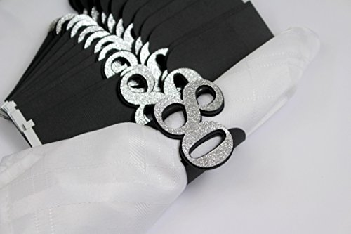 All About Details 80 Napkin Holders, 12pcs (Black & Silver)