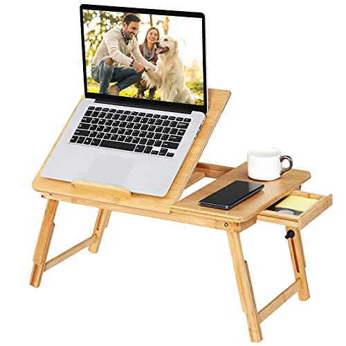 Tersework Bamboo Laptop Desk,Adjustable Portable Breakfast Serving Bed Tray Table with Drawer for Eating and Reading Ipad Computer Lap Desk
