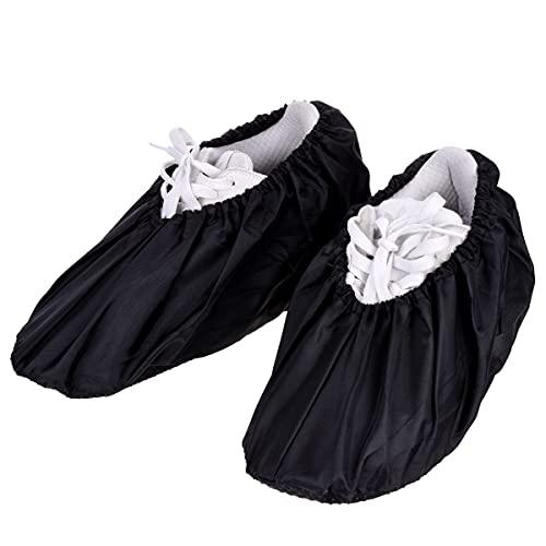 X-Mile 2 Pares Cubierta de Zapato Antideslizante Impermeable Resistente Lavable reutilizable Cubrecalzado Cubiertas de Botas para Hombres Mujeres Niños Adultos - Negro