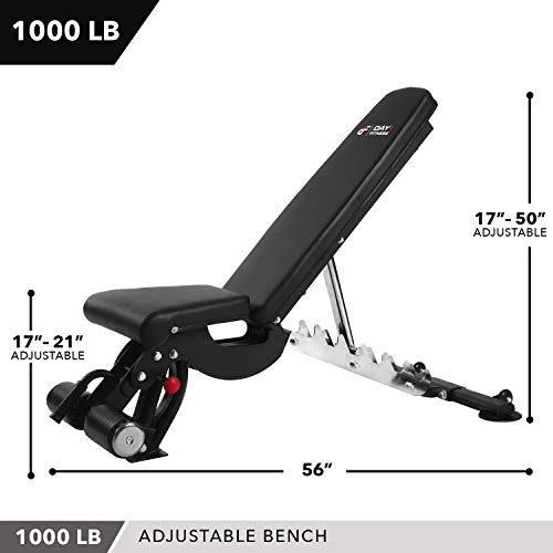 Adjustable Weight Bench, 1000 lb by D1F for Strength Training - Incline, Decline, Flat Workout Benches for Lifting, Flies, Chest Press, Dips - Utility Equipment for Personal, Commercial Gym