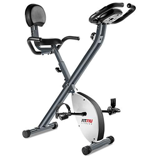 Fitfiu Fitness BEST-220 - Bicicleta Estática plegable con respaldo regulable, Pulsómetro y volante de inercia de 8 kg regulable a 8 niveles de esfuerzo, Entrenamiento cardio y fitness