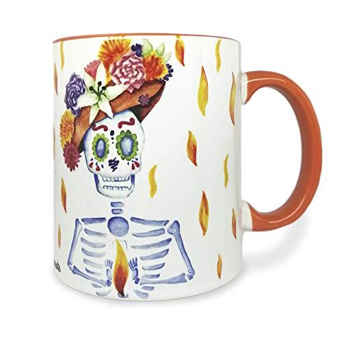TILIKI FLAKA - Taza de cerámica hecha a mano para café o té - 11 oz/325ml - Arte y diseño original - Calaverita y Luz - Uso en microondas/lavavajillas