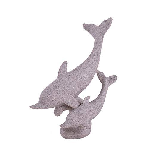 Diaosuw Skulpturen,Kreative Delphin Statue Abstrakte Tierfiguren Natur Sandstein Geburtstagsgeschenk Statuetten Individuellkeit Ornamente Handwerk Für Office Moderne Wohnkultur, Dolphin Nach Unten