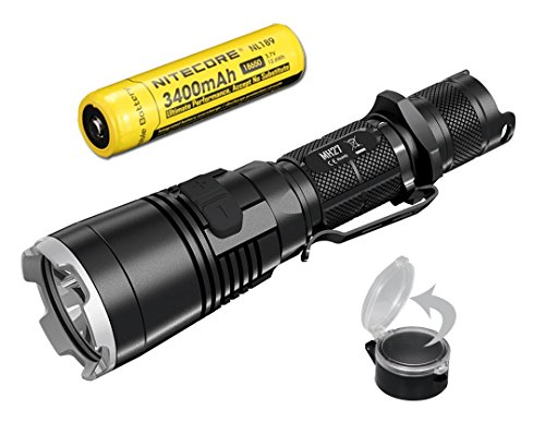 Nitecore High Capacity Bundle with Flip-to-Side Diffuser MH27 1000 Lumens Rechargeable Tactical LED Flashlight, 3400 mAh Battery