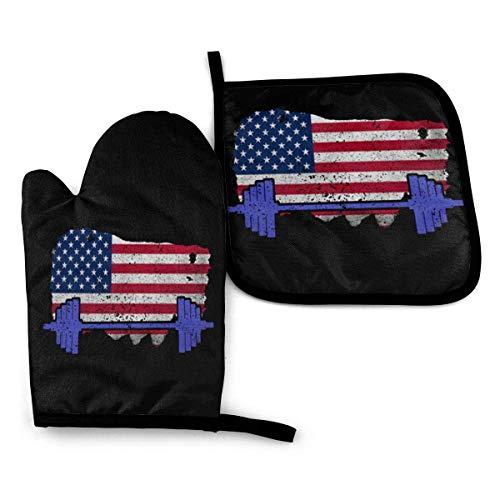 Gimnasio Fitness Levantamiento de pesas Bandera de EE. UU. Levantamiento de manoplas para horno y soportes para ollas Juegos Guantes de cocina Guantes para hornear para barbacoa Cocinar Hornear Asar a