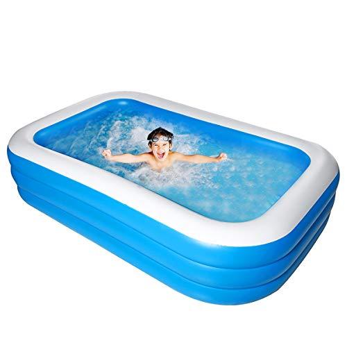 Bilisder Aufblasbarer Pool, 305 x 185 x 60cm Großer Luxus Family Pool, Schwimmbecken Rechteckig für Kinder, Jugendliche und Erwachsene, Garten und Outdoor