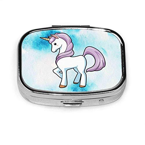 Los unicornios son mi espíritu Animal Fashion Caja de pastillas cuadrada Vitamina Medicina Soporte para tableta Estuche organizador de billetera