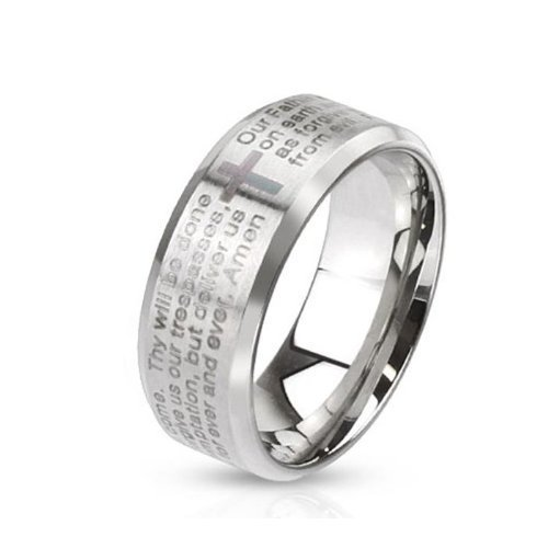 Tapsi´s Coolbodyart®|Dome Ring Edelstahl 6mm Breit Kreuz Vater Unser Amen Silber 53(17)