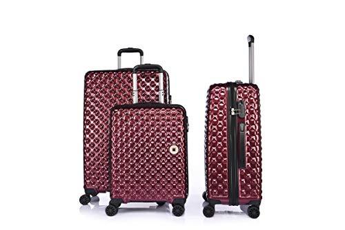 LYS Hartschalenkoffer aus Polycarbonat, 8 Räder, 55 – 66 – 76 cm, Rot