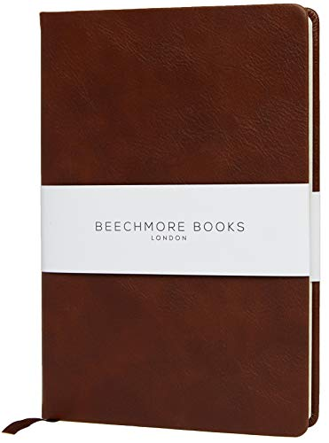 Liniertes Notizbuch - Hochwertiges Tagebuch A5 von Beechmore Books | Festeinband Veganes Leder, Dickes Cremefarbenes Papier 120 g/m², 21 x 15 cm (Kastanienbraun)
