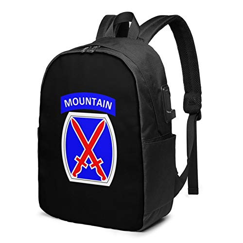 10th Mountain Division Enduring Freedom Laptop Backpack with USB Charging Port, Business Bag, Bookbag | Fits Most 17 Inch Laptops and Tablets