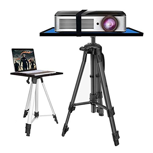 ERTYU Heavy Duty Projector Tripod Stand Foldable, Aluminum Multifunction Tripod Stand with Tray, 17.7' To 47.2' Universal Device Stand Perfect for Stage or Studio Use Black