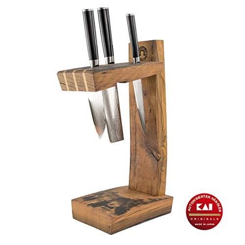 exklusiver, von Hand gefertigter Messerblock | + 3 hochwertige Kai Shun Classic Damastmesser DM-0701 0727 0728 (Allzweck/Santoku/Nakiri) | VK: 629,- €