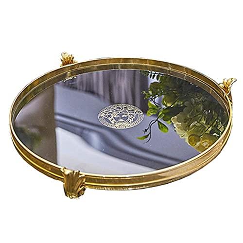 GHJA Bandeja de joyería Bandeja de cosméticos Cobre Puro Vidrio Negro Bandeja de Oro Bandeja Delicada Cocina Mesa de Centro Decoración del hogar Plato de Desayuno (Color: Dorado, Tamaño: 32 cm de