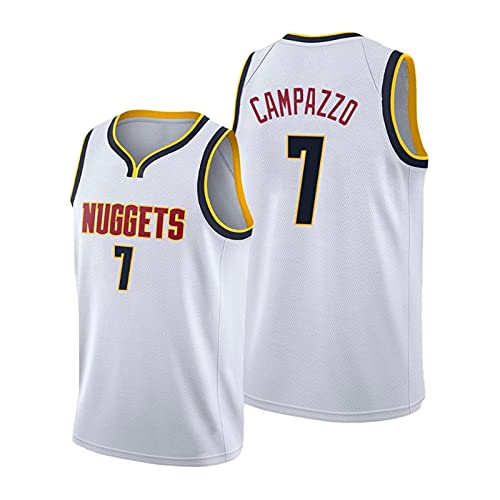 YDHZ Fácundo Campázzo Camisetas de Baloncesto para Hombre, Bordado Transpirable Mesh Edition Capacitación Jersey 2020-21 Dènver Nuggèts Campázzo (S-2XL) White2-2XL White-M