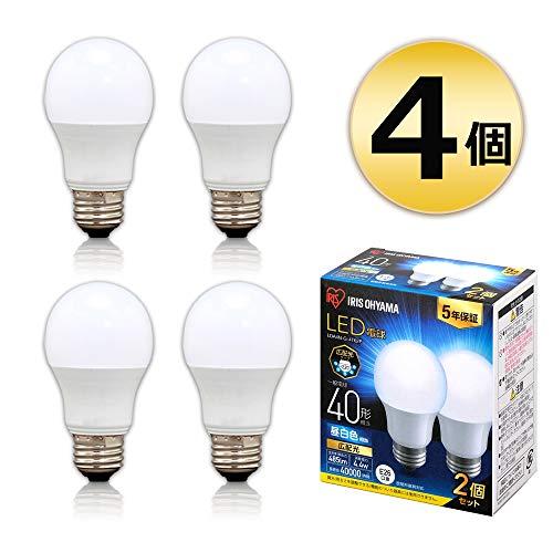 アイリスオーヤマ LED電球 E26 広配光 40形相当 昼白色 メーカー5年保証 2×2個セット LDA4N-G-4T62P