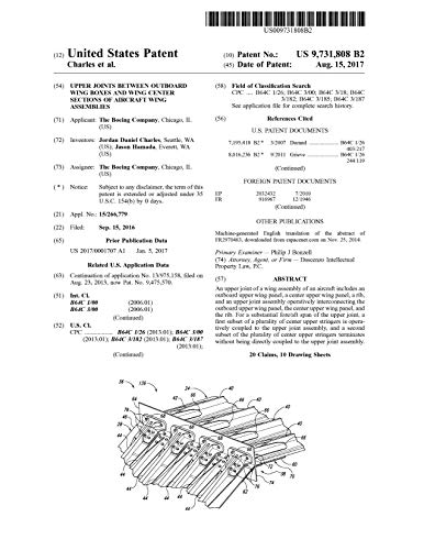 Upper joints between outboard wing boxes and wing center sections of aircraft wing assemblies: United States Patent 9731808 (English Edition)