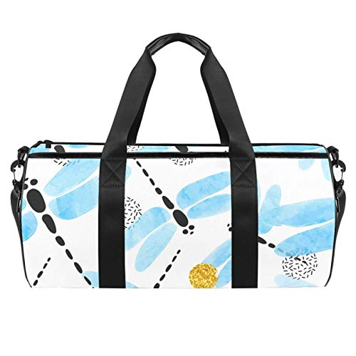 LAZEN Hombro Handy Sports Gym Bags Travel Duffle Totes Bag para Hombres Mujeres Azul Acuarela Libélula