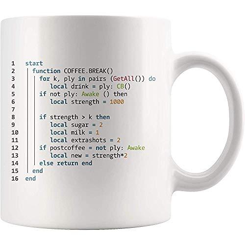 Kaffeepause Keramik Tasse Programmierer Becher- Informatik Geschenkbecher- Codierung Kaffeetasse-S Neuheit Keramik Kaffee Tee Tasse Becher Weiß