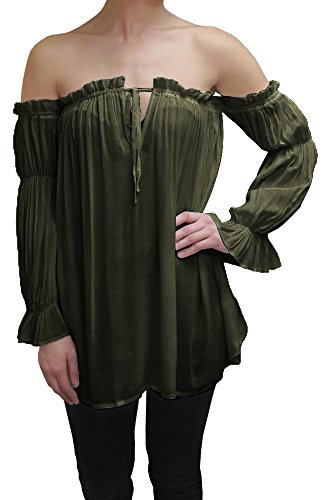 Anna-Kaci Womens Semi Sheer Boho Peasant Long Sleeve Off The Shoulder Top, Olive Green, XX-Large