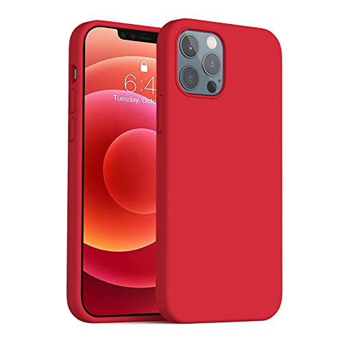Anyos Compatible with iPhone 12 Case and iPhone 12 Pro Case 6.1 inch, Liquid Silicone Rubber Full Body Protective Phone Case with Soft Microfiber Cloth Lining for Women Men Girls Boys, Red