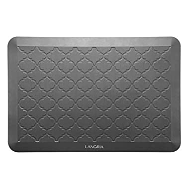 LANGRIA Anti-Fatigue Comfort Mat for Superior Support - Non-toxic 3/4-Inch Thick Waterproof Anti-Slip Mat Reduces Pressure in Kitchen or Office, Easy Maintenance (Large, 30 x 20 Inch, Gray)