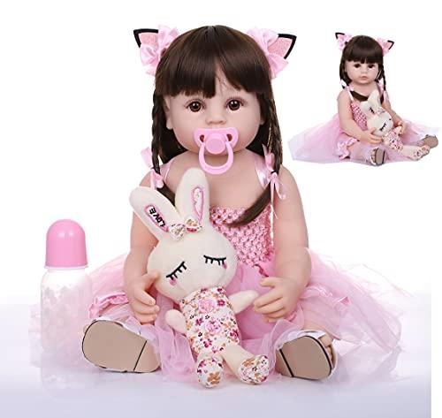 ZIYIUI Muñecos Reborn Reales Silicona Niña 22 Pulgadas 55 cm Bebe Reborn Silicona Cuerpo Completo Realista Bebé Reborn Niña Ojos Abiertos Bebes Reborn Recien Nacidos Niña