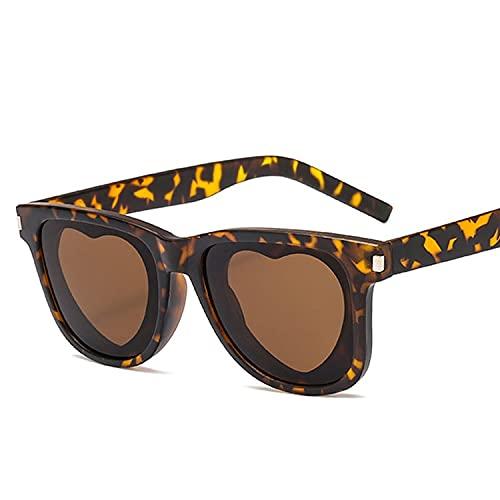 AMFG Gafas De Sol En Forma De Corazón Moda Cuadro Cuadrado Personalidad Gafas De Sol Moda Sombrilla Gafas (Color : E)