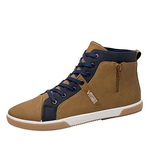 CLOOM Scarpe da Uomo Casual, Scarpe da Uomo e Donne, Cerniera da Uomo Scarpe Moda in Cima Casual per Uomo Scarpe Uomo Scarpe Stringate,Basse Stivaletti High-Top Scarpe Sneakers(Cachi,42)