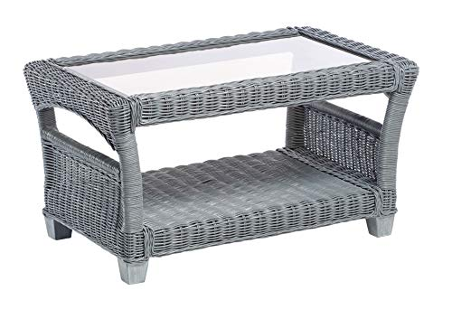 Desser Dijon Grey Coffee Table with Storage Shelf – Glass Top Table with Natural Wicker Rattan Cane Frame Indoor Conservatory or Living Room Furniture - H47cm x W89cm x D57cm