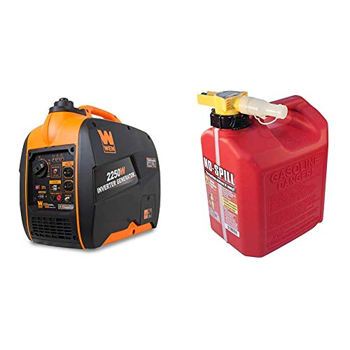 WEN 56225i 2250-Watt Gas Powered Portable Inverter Generator with Fuel Shut-Off, CARB Compliant & No-Spill 1405 2-1/2-Gallon Poly Gas Can