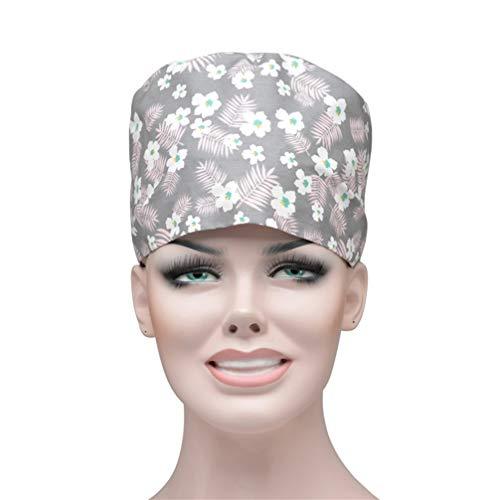 Fenical Wiederverwendbare Riemchen Unisex Baumwolle einstellbare Peeling Hut arbeitskappe für Krankenschwester Arzt - grau