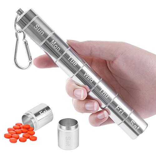 MYCreator Pillendose für die Woche, tragbar, Aluminiumlegierung, 7 Tage, wasserdicht, 7 Fächer, Medikamenten-Organizer, Reise-Pillenflasche, Pillenbehälter mit Schlüsselanhänger und Karabiner (1)