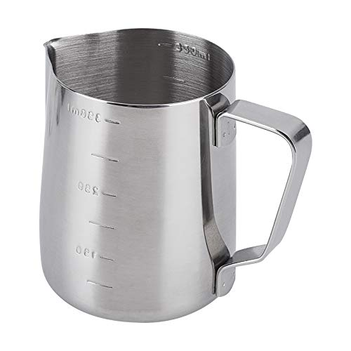 UNICRAFTALE 1 unid acero inoxidable herramientas taza de café, taza de medición, arte Latte graduado taza de leche espumoso taza de acero inoxidable color 9.2 cm de largo