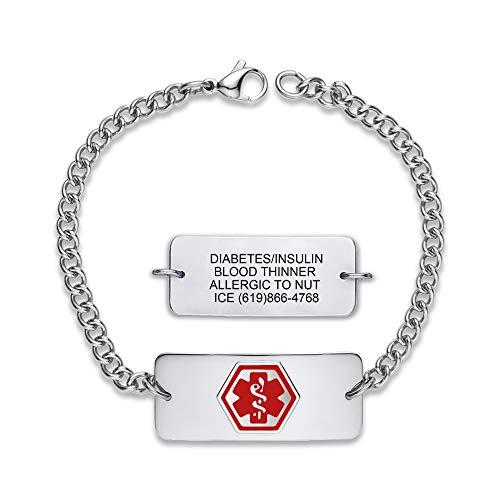 Divoti Deep Custom Engraved Classic Medical Alert Bracelets for Women/Men, Stainless Steel Medical Bracelet, Medical ID Bracelet Adjustable - w/Free Engraving-Red
