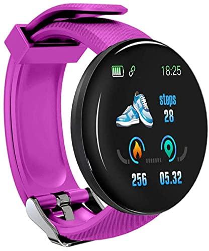 Reloj inteligente para hombre Wacth Mensaje Recordatorio HD LCD Pantalla Relojes IOS Teléfonos Android Reloj inteligente Mujeres Movimiento Fitness Tracker-Púrpura
