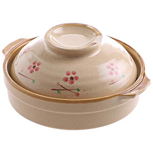 CCAN Plato para cazuela con Tapa para Olla de Cocina Cacerola Japonesa de cerámica de Sakura, Olla de Barro de 0,6 litros para 1 Persona, Belleza Vintage Floral cocotte Cereza 0,6 litros
