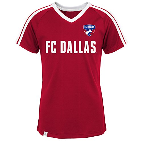 MLS by Outerstuff Short Sleeve Club Top, Power Red, Youth Girls Medium(10-12), FC Dallas