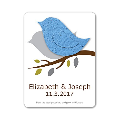 Bloomin Plantable Love Bird Wedding Favor with Seed Paper - Light Blue (25 Card Set)